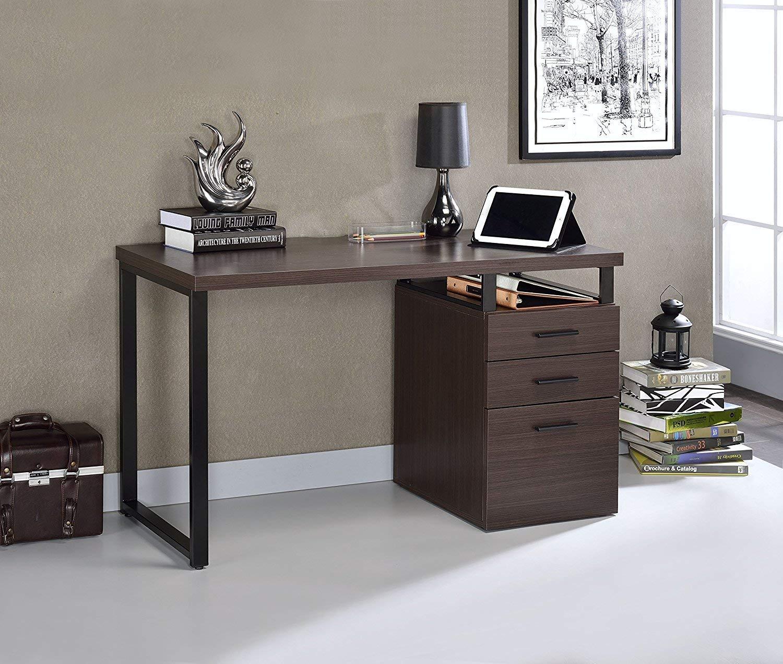 Major-Q Wooden Top Desk with 3 Drawer File Cabinet, for Office/Living Room/Dorm 47 x 22 x 28H (Dark Oak)