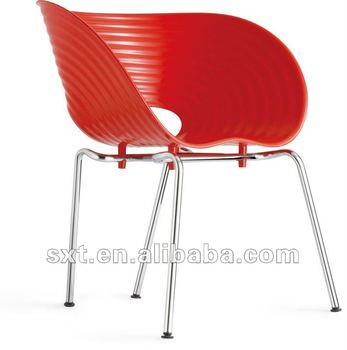 lastest style red plastic chair with metal legs design