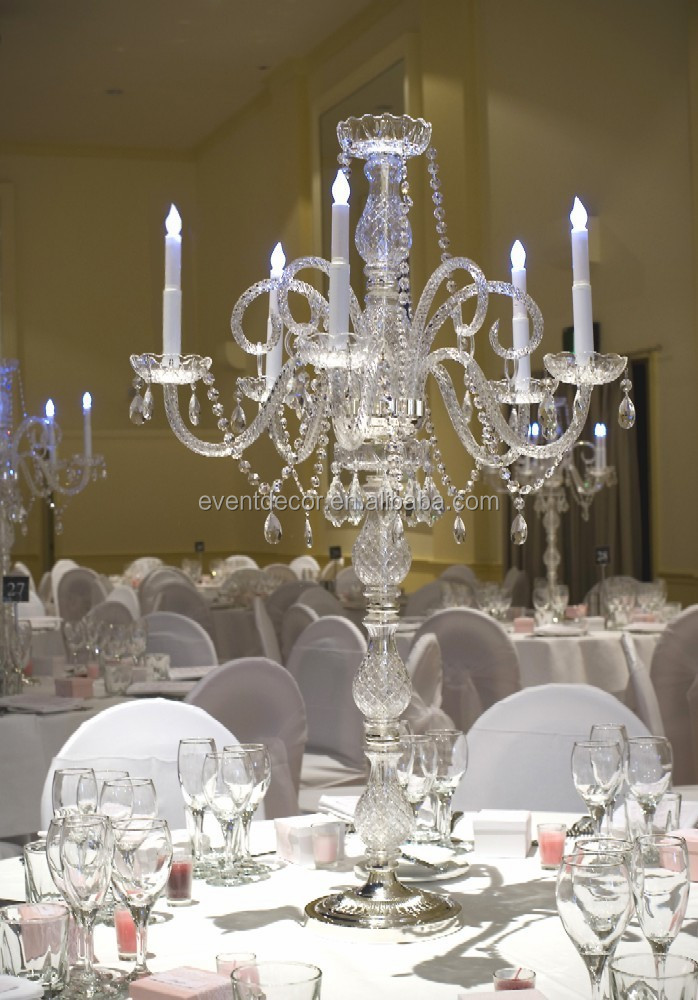 Unique glass candelabra tall wedding table