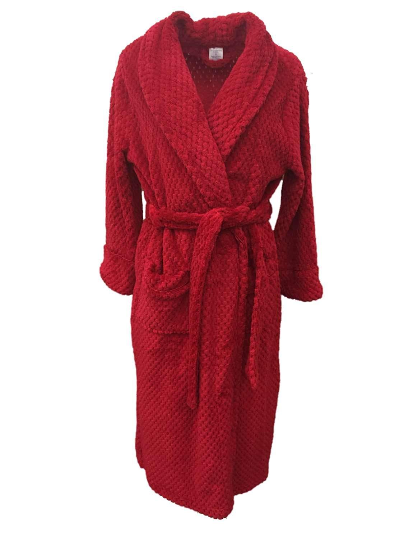 c15de0e08d Get Quotations · Croft   Barrow Womens Soft Plush Red Dimpled Robe Housecoat