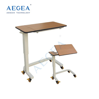 AG-OBT012 approved operated by gas spring tilt top hospital bedside dining table