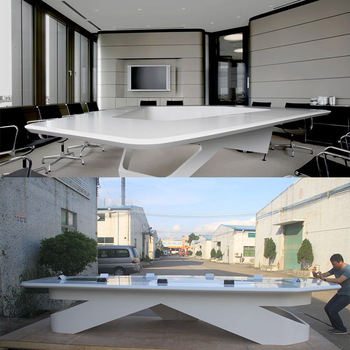 White Corian Solid Surface Oval Meeting Room Furniture Conference - Corian conference table
