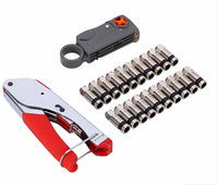 Compression Coaxial Cable Manual Crimping Tool Set Kit For RG59 RG6 F Coax Cable Crimper