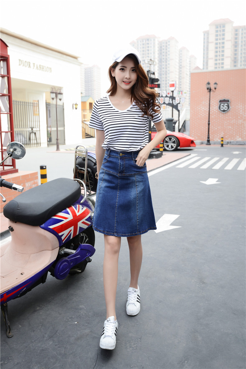 d9e698baf0 2019 New Arrival Plus Size XS To 7XL Pockets Jeans Pleated Skirts ...