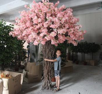 Wedding Sideway Decorative Cherry Blossom Bonsai Tree Pink Artificial Indoor Red