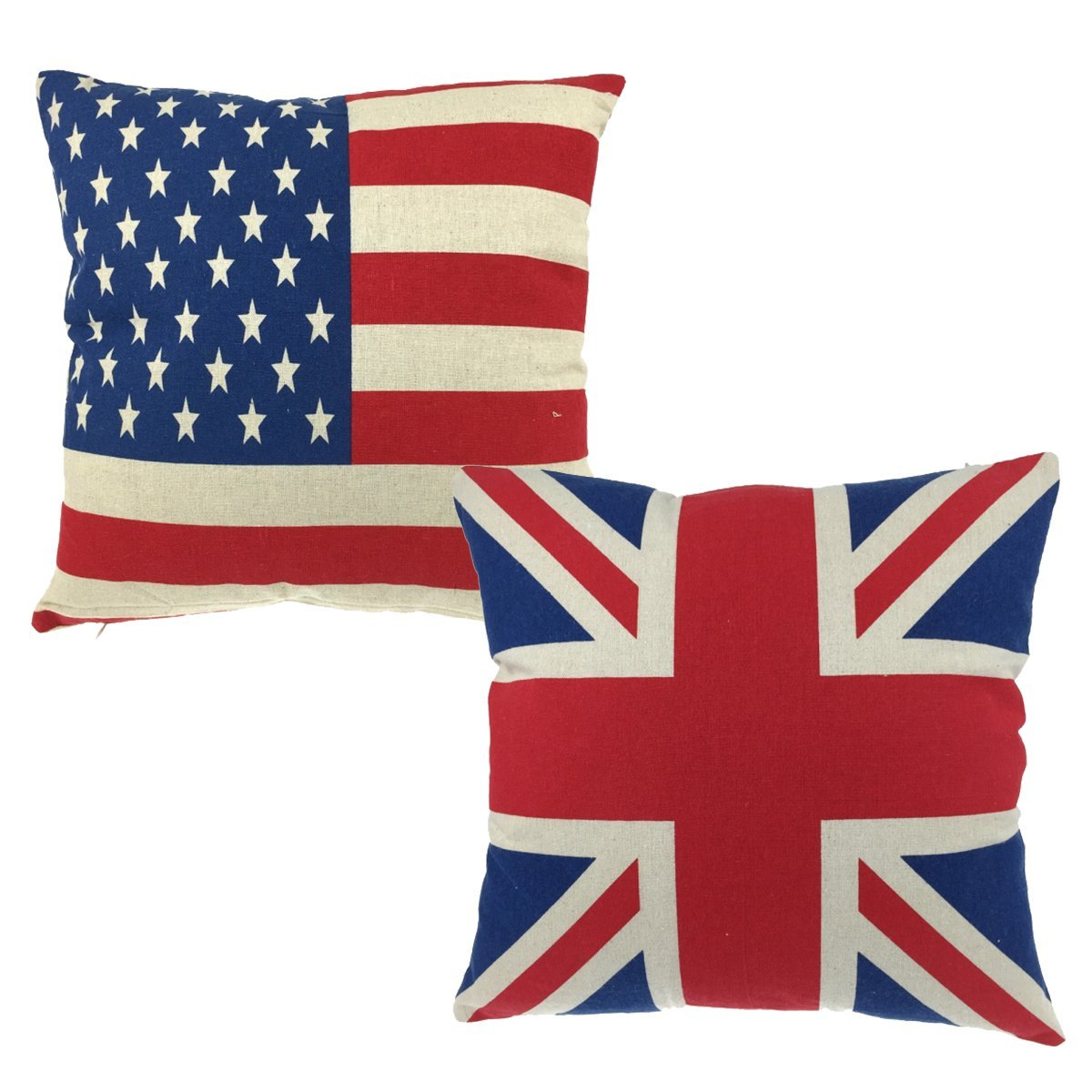 d671f78c1011 Luxbon Pair of Union Jack Flag and USA American Flag Stars   Stripes Sofa  Cushion Cover Durable Cotton Linen Throw Pillow Cover Flag Lover Gift ...