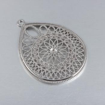 925 sterling silver indian large teardrop filigree jewelry pendant 925 sterling silver indian large teardrop filigree jewelry pendant for jewelry making mozeypictures Images