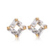 JBD Fashion Simple 18k gold plated four claws inlaid exquisite CZ woman Ear Stud Jewelry Wholesale