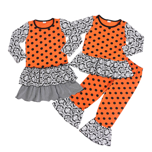 Black damask cotton and black dots orange cotton holiday outfits family matching clothing