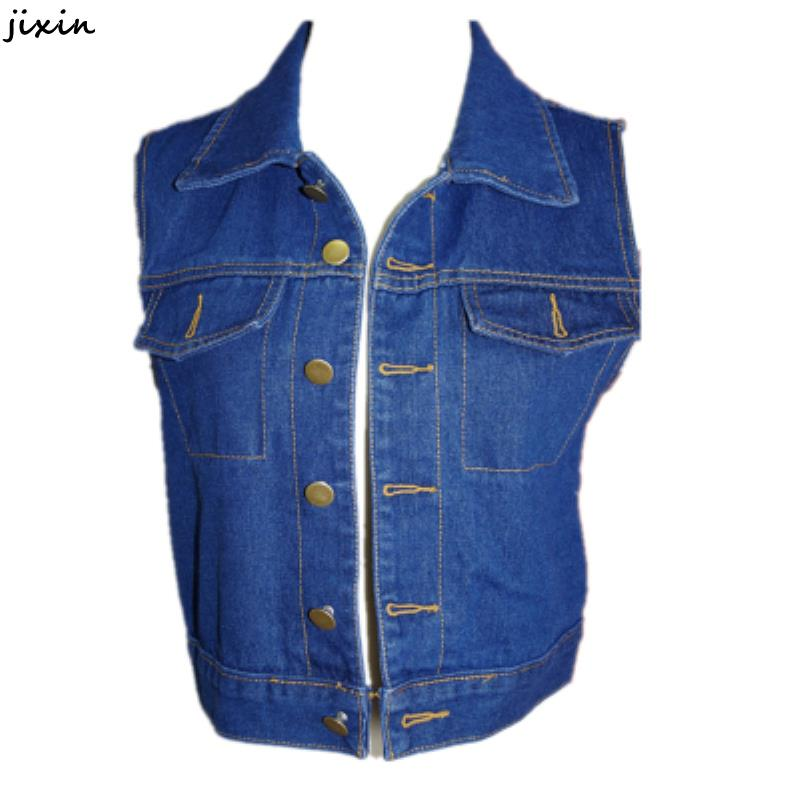 Summer Style Fashion Women Vintage Single Breasted Waistcoat Female Sleeveless Short Denim Vest