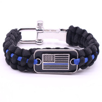 The thin blue line paracord bracelet with adjustable steel shackle , American flag bracelet gift for policeman
