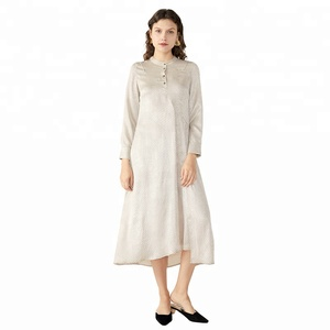 Semi Casual Women Beige Dress Outfit Long Shirt Maxi Dress for Women