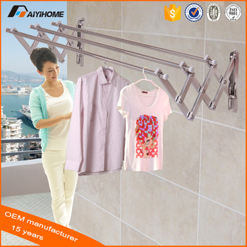 Aluminum Wall Mounted Clothes Hanger Rack Metal Folding Laundry Push Pull Drying