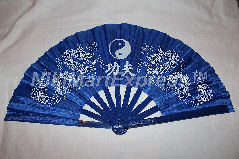 Oriental Dragon Kung Fu/Tai Chi/Dance/Practice Performance Hand Folding Fan Blue