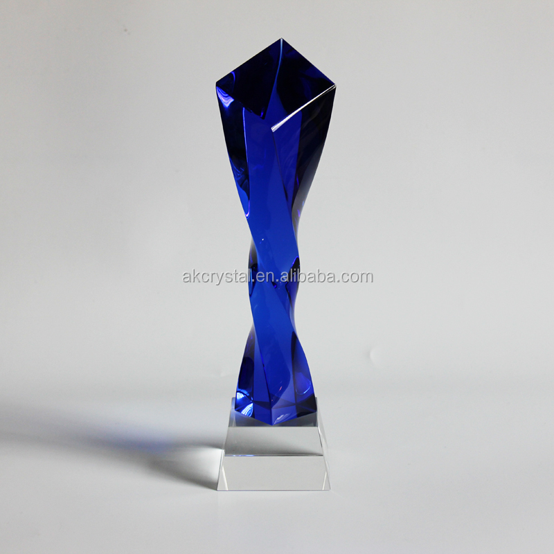 AKT002 Factory direct supply new design yellow blue yellow red twisted pillar k9 crystal music dance trophy