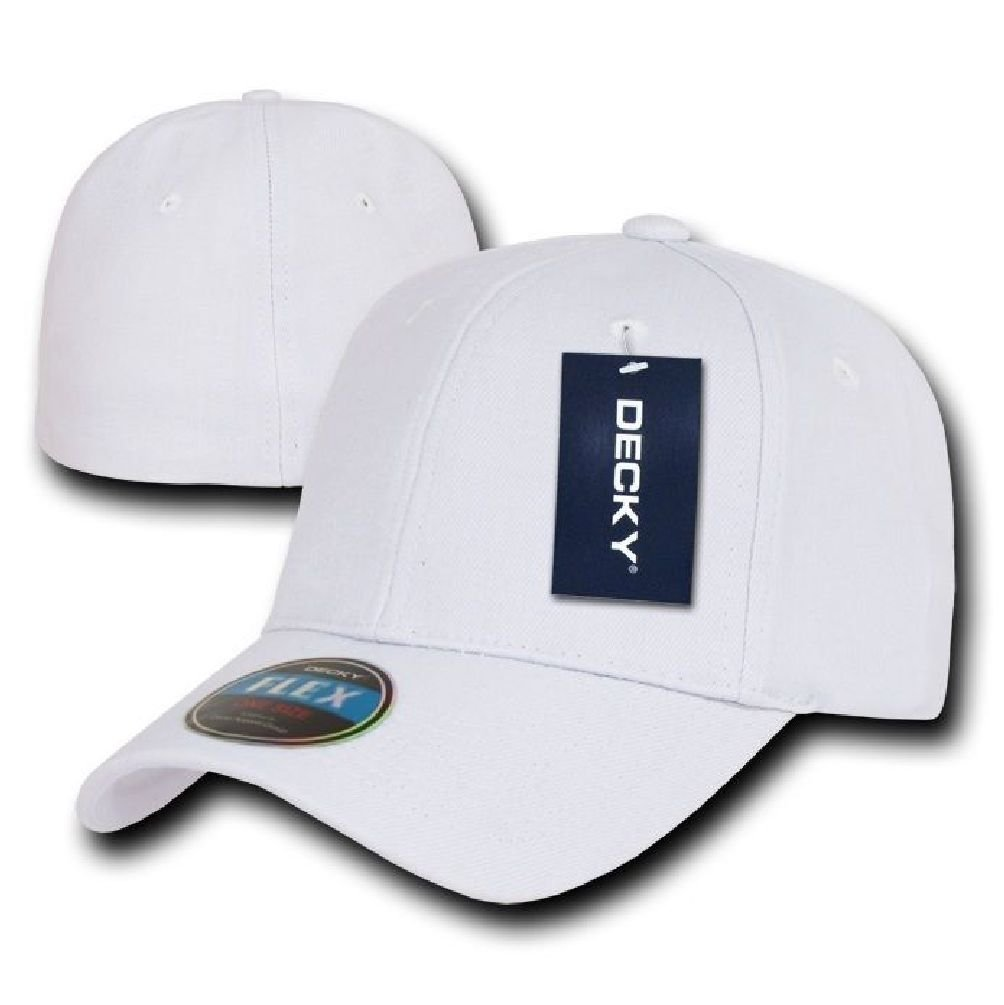 be74f9f37a8 Get Quotations · White Plain Solid Blank Flex Baseball Fit Fitted Ball Cap  Caps Hat Hats OSFA