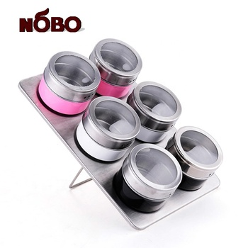 High Quality Food Grade Spice Shaker Magnetic Stainless Steel Spice Tin Set with Clear Plastic Window On Lid