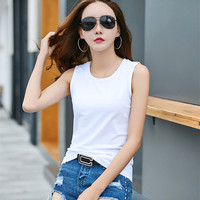 hot sale fashion Women's Sleeveless tank tops Vest cotton woman`s slim fit Camisole in bulk