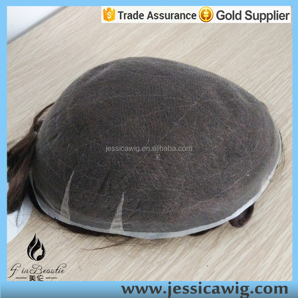 New arrival Swiss lace hair system for men, Stock Natural Hairline toupee