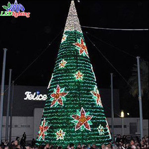 Customize 6m 8m 10m 15m 20m outdoor giant artificial christmas tree with star and candle decoration