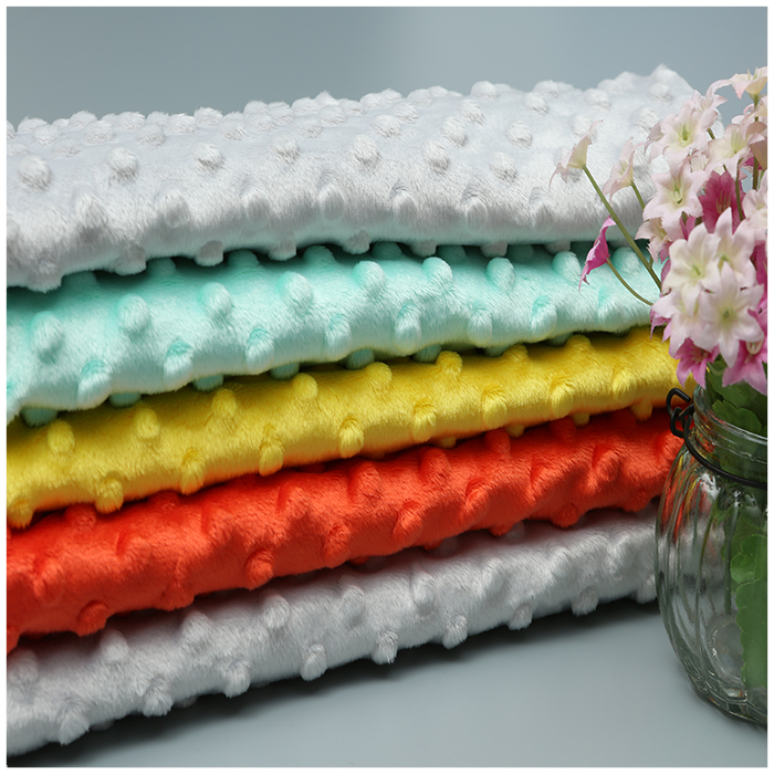 100% polyester textile minky dot soft baby blanket fabric
