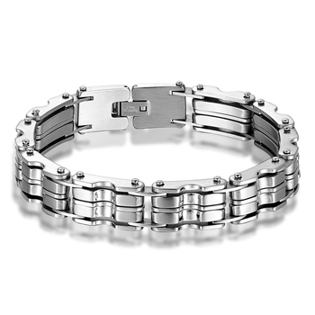 Ali Express Hot Style Chunky Mens Heavy Jewelry Silver Color Stainless Steel Biker Bracelet In Stock