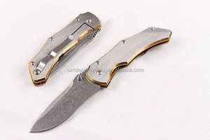 OEM golden handle small hand tool outdoor knives folding pocket