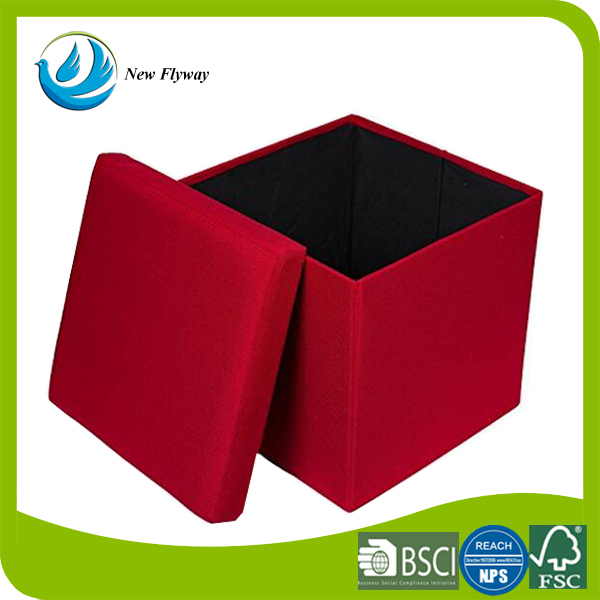 Home Folding Upholstered Strong And Sturdy Quick And Easy Assembly Foot Chair Leather Bench Ottoman Storage With Lid Red