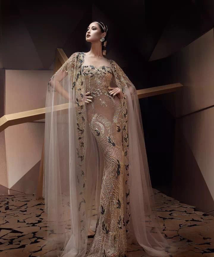 Gold Lace Embroidered Dress Middle East Wedding Anniversary Dresses