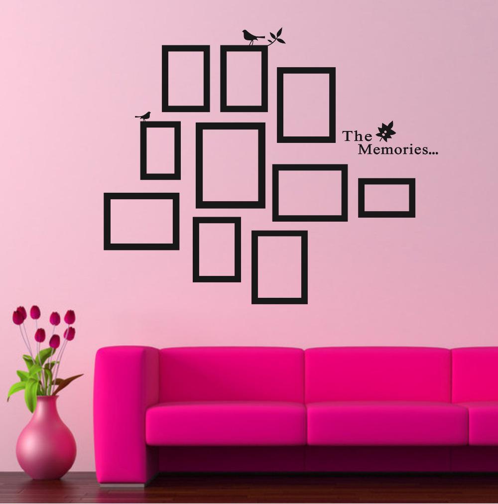 Diy photo frame black removable vinyl wall stickers - Removable wall stickers living room ...