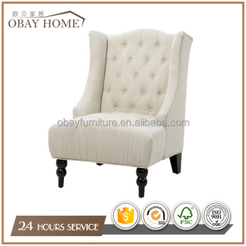 French Antique Style Luxury Living Room Chairs With Simpls design Fabric Button tufted back
