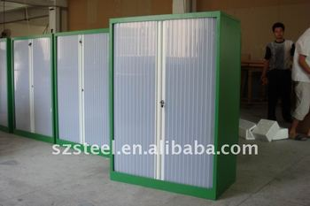 Office Furniture Translucent Roller Shutter Door Cabinet Steel With Two Doors