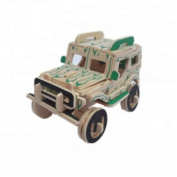2017 wooden toy Jeep,wooden 3d puzzle jeep