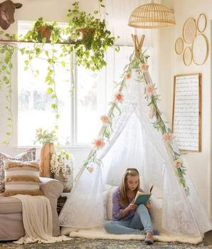 Luxury Teepee Lace Tent for Wedding Party Photo Prop Wood Poles Lace Canopy Indoor & Luxury Teepee Lace Tent For WeddingPartyPhoto Prop Wood Poles Lace ...