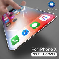 for iphone X screen protector,Lito full coverage 3d curved tempered glass film screen protector for iphone X