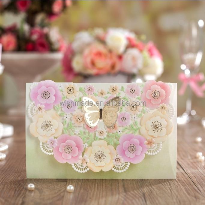 diseo floral de la mariposa tarjeta de felicitacin tarjeta de invitacin de boda cw