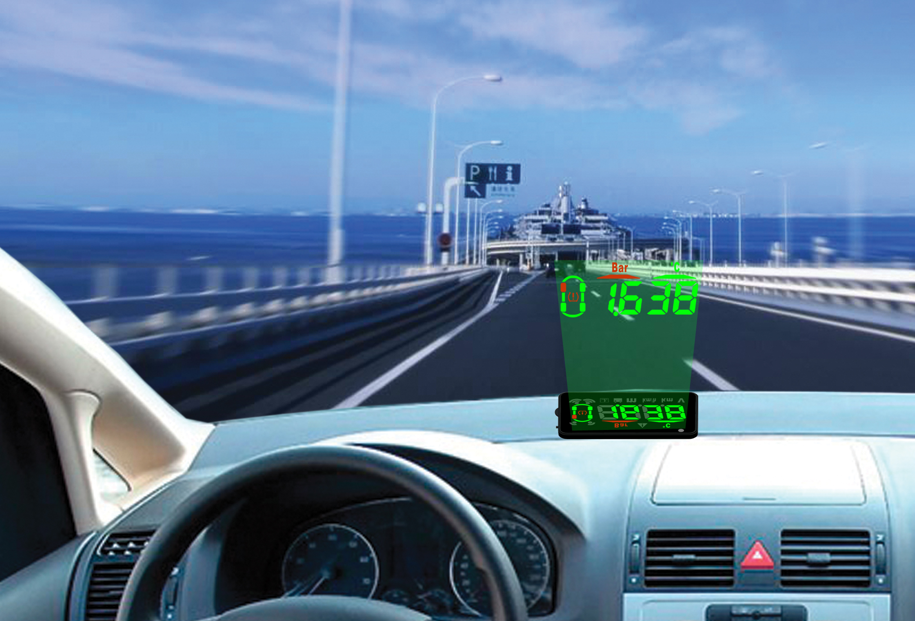 OBD-II Head-up Display WITH Smart TPMS Internal sensor