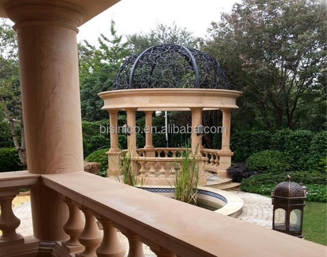 Villa Hand Carved Garden Sandstone Gazebo, Decorative Carved Column Gazebo