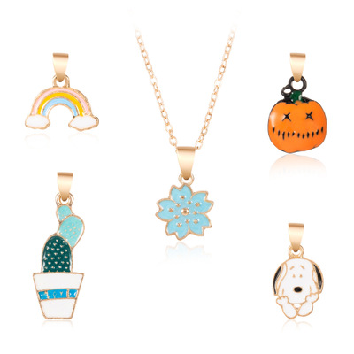 Creative <strong>Cute</strong> <strong>Cheap</strong> Promotional Pumpkin Flower Rainbow Gifts Pendant <strong>Necklace</strong> with chain