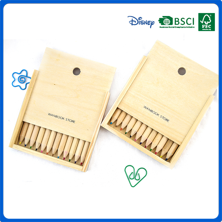 high quality 3.5inch 12pcs natural wood color pencil in wooden case