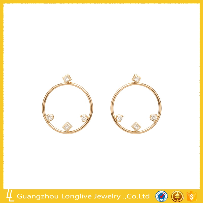 Guangzhou longlive simple gold mixed shaperd diamond circlr earring jacket