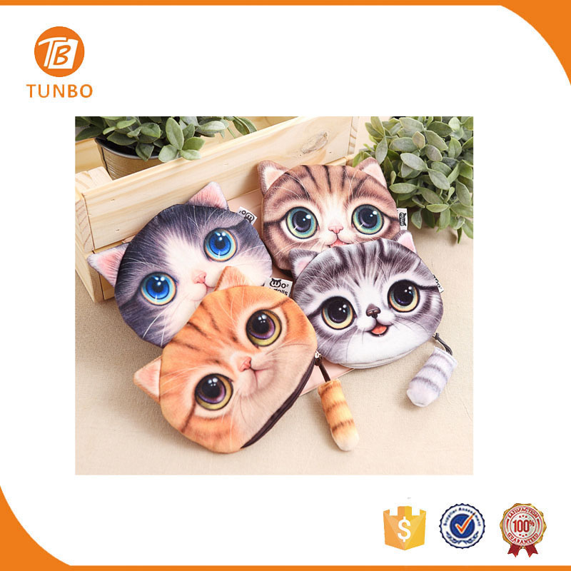Wholesale cute 2d cartoon cat wallet cat coin purse