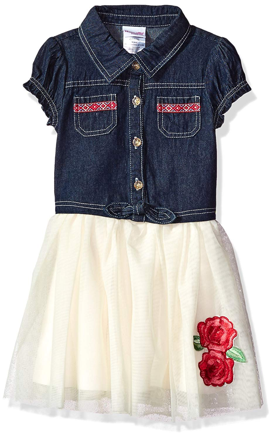 Nannette Girls' Short Sleeve Denim Dress Tulle
