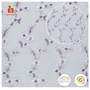 Zhejiang textile plain dyed white lace wintersweet flower embroidered net fabric