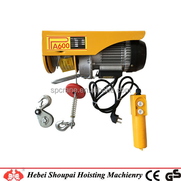 Manufacturer PA Type Protable 500kg Wire Rope Mini Electric Hoist,mini electric chain hoist 250kg electric hoist made in China