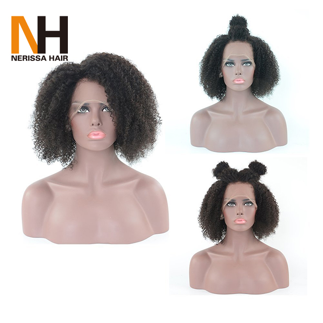 Manufacturer China Wholesale Front Lace Brazilian Human Hair Full Lace Wig Short Curly Wig for Black Women