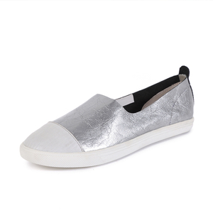 2019 White Shoes Metallic Paint Loafers Leather Shoes