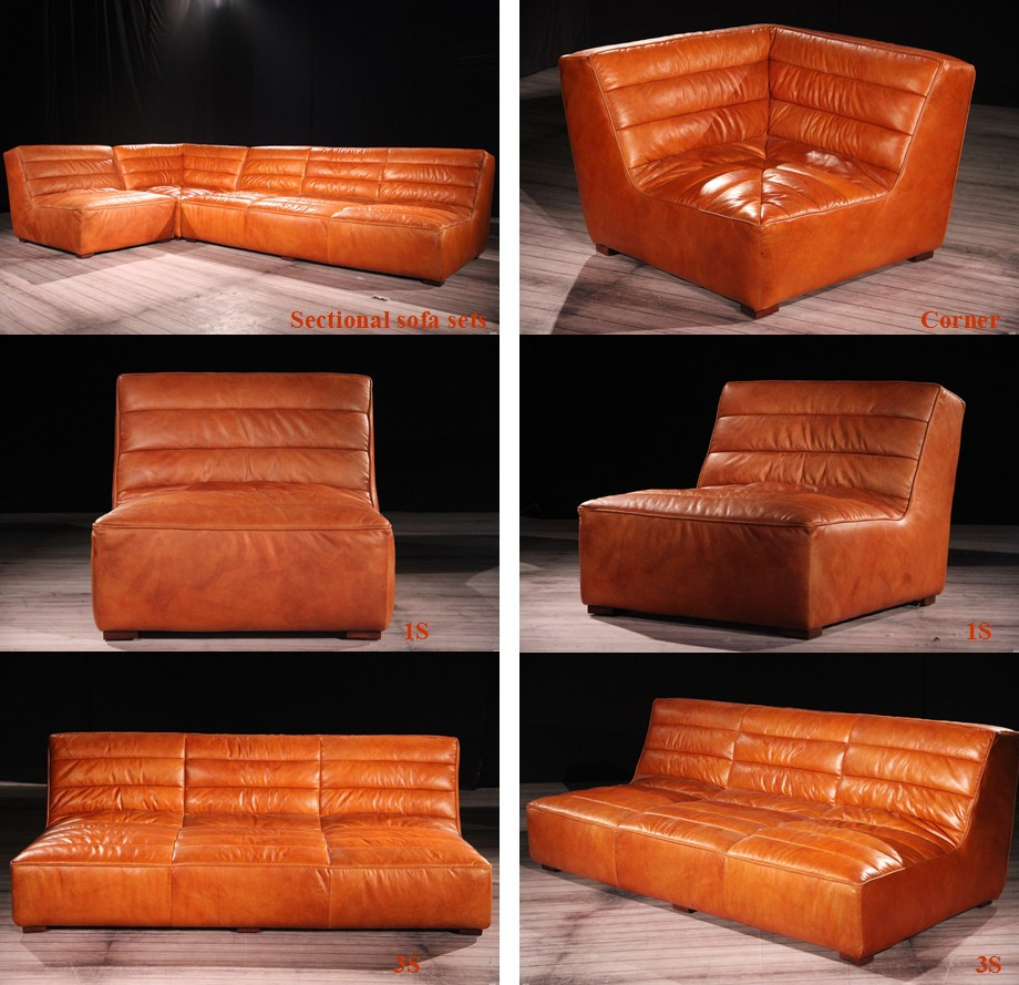 Rustic Retro Vintage Sectional Real Leather Sofa Sets