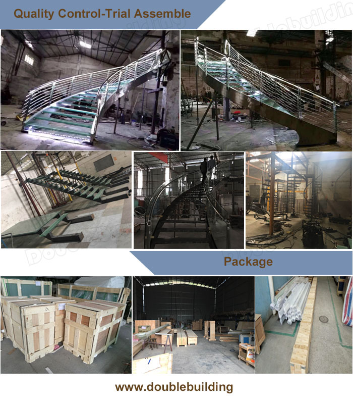 Factory price helical design spiral staircase iron price steel metal curved stairs indoor stairs