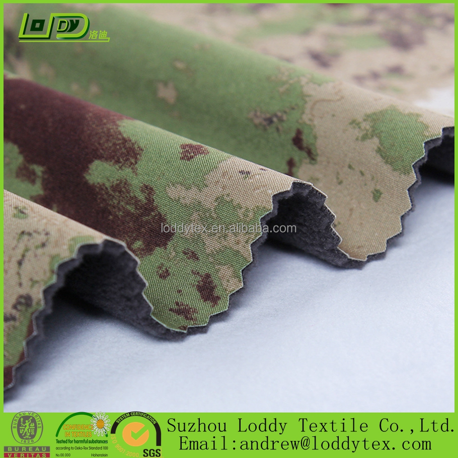 Polyester spandex camo fabric/military jackets fabric/stretch softshell jackets fabric